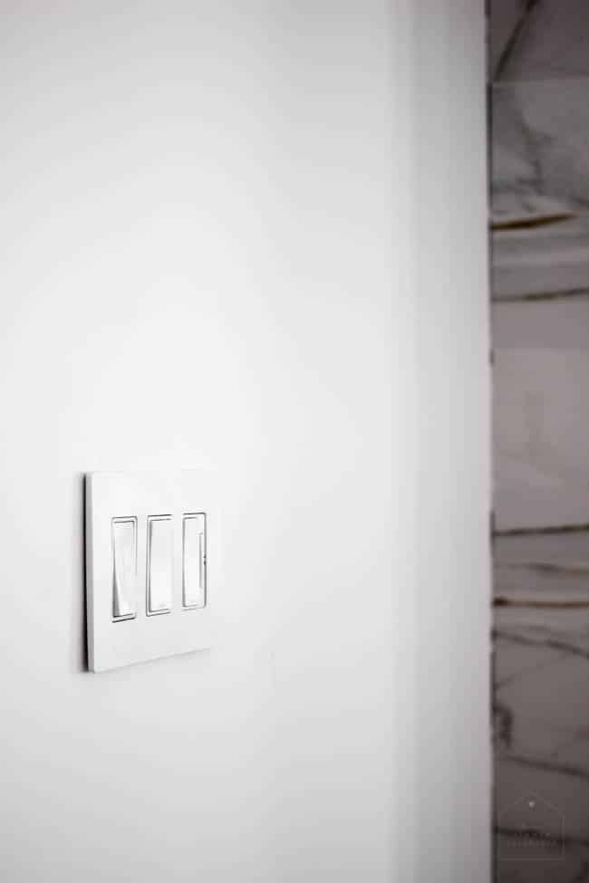 These screwless light switch panels have a sleek and modern look that goes with our modern living room