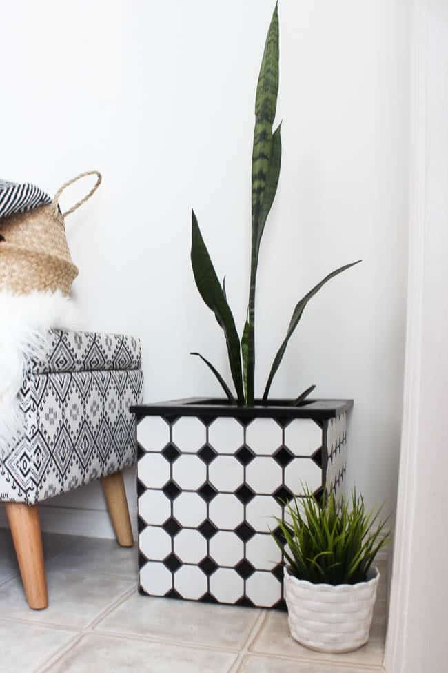 these tiled planter boxes would look great indoors or outdoors