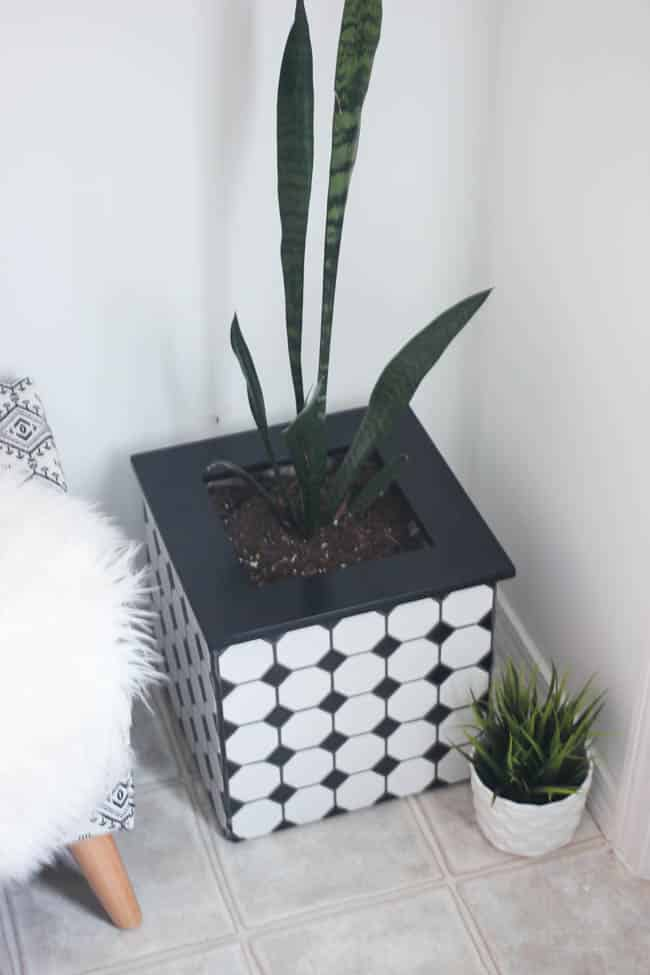 These DIY tiled planter boxes are a simple project that adds a modern touch to any room - such a fun project!