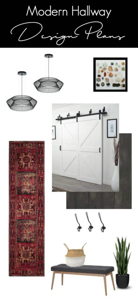 Beautiful modern hallway design plans! Love how the hallway lighting, the long runner, and the barn doors mix together for the perfect modern design.