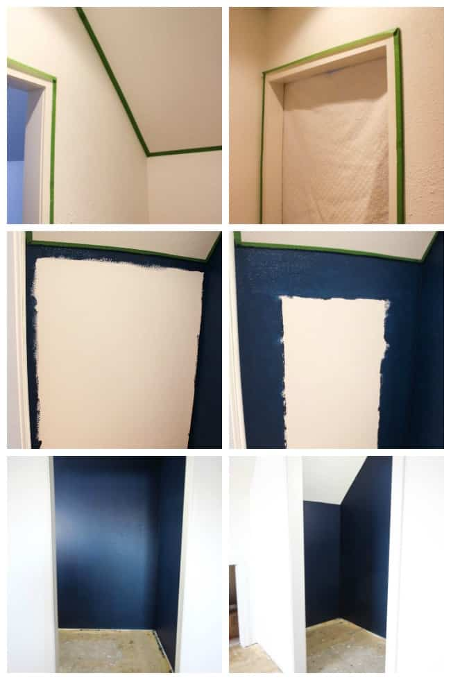 Here's our process of taping up the moulding around our master bedroom closet with textured walls