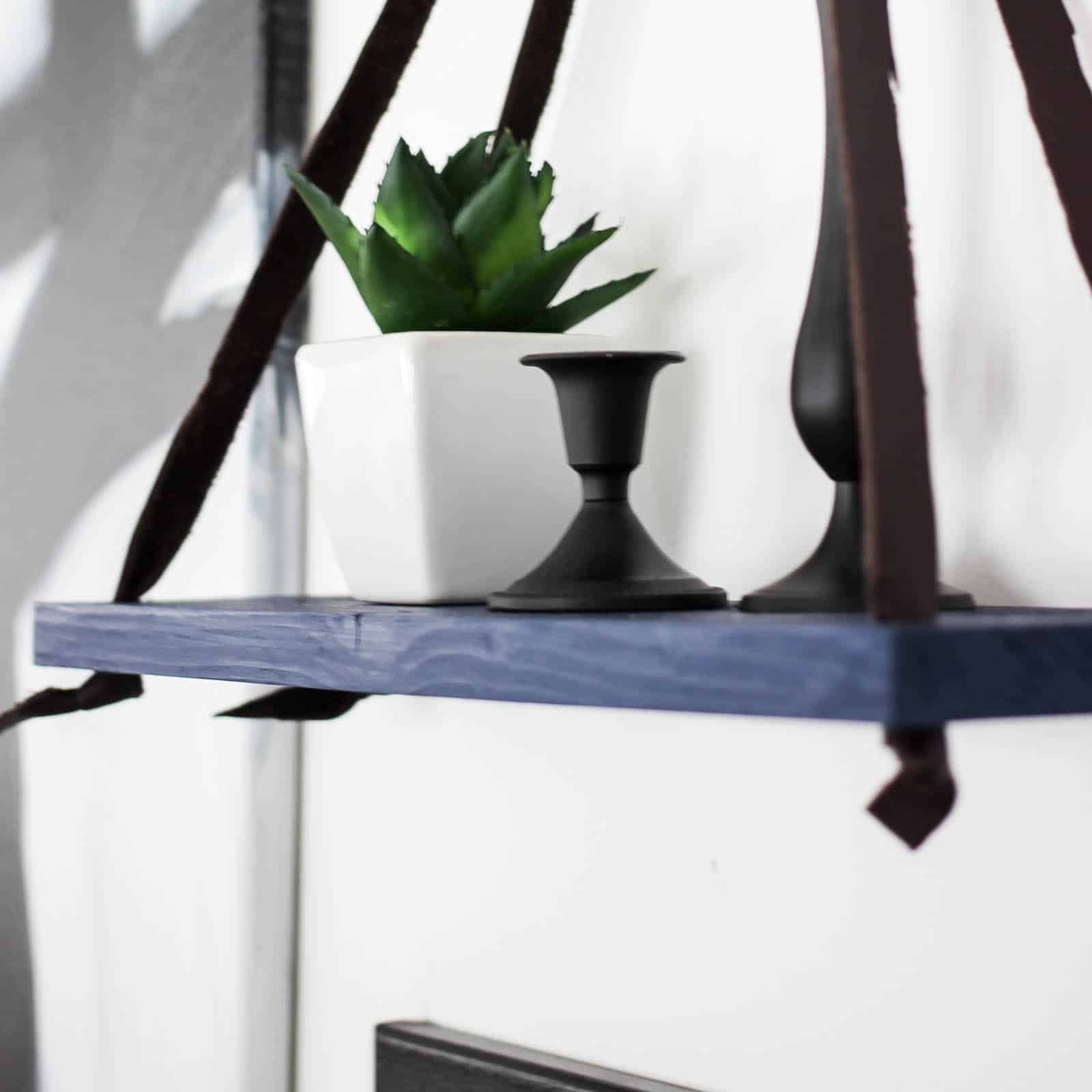 DIY Hanging Shelf (with scrap wood and leather!)