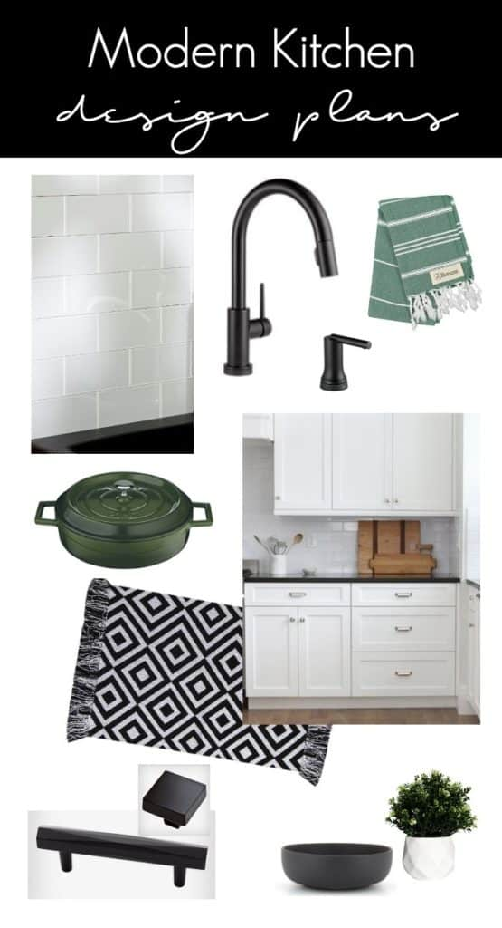 Beautiful Kitchen Decor Ideas for this Modern Kitchen Weekend Transformation! The design plans for this white and black kitchen remodel include countertop transformation kit, peel and stick tile, and beautiful new hardware and fixtures.