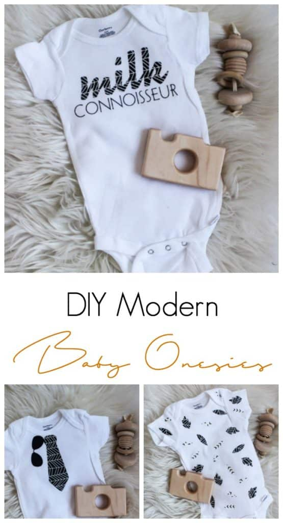 These adorable DIY baby onesies were make with cricut's new patterned vinyl! Check out these super cute designs