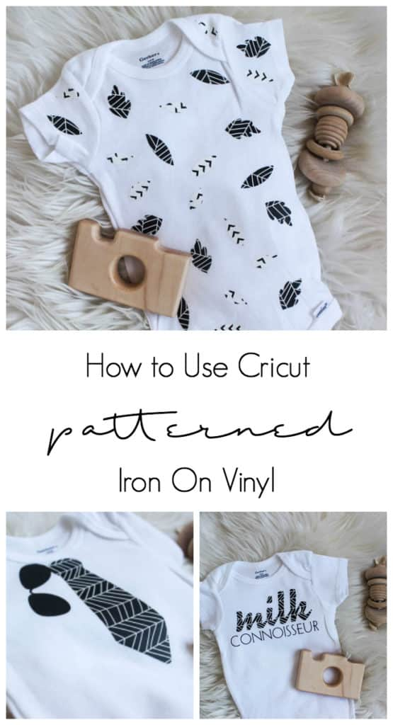 How to use cricut's new patterned iron on vinyl to make these adorable DIY baby onesies