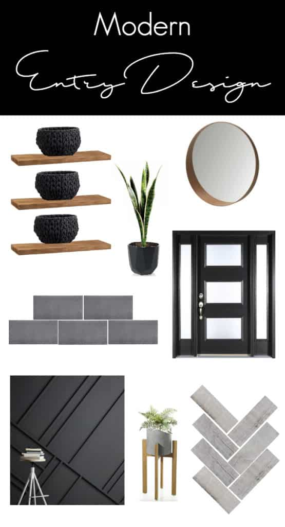 Wow! Beautiful modern entry design plans! Watch these homeowners transform this outdated mudroom into a beautiful, functional, and affordable entry! Love the black, white and wood colour palette and the herringbone floors in the new design!