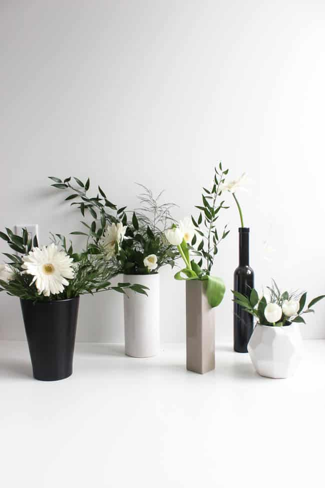 Beautiful modern spring flower arrangements! An easy tutorial for beginners! Learn to arrange beautiful spring centrepieces for Easter, Mother's Day, Weddings, Bridal Showers, or any party! Love the stunning white and green arrangements in this video tutorial!