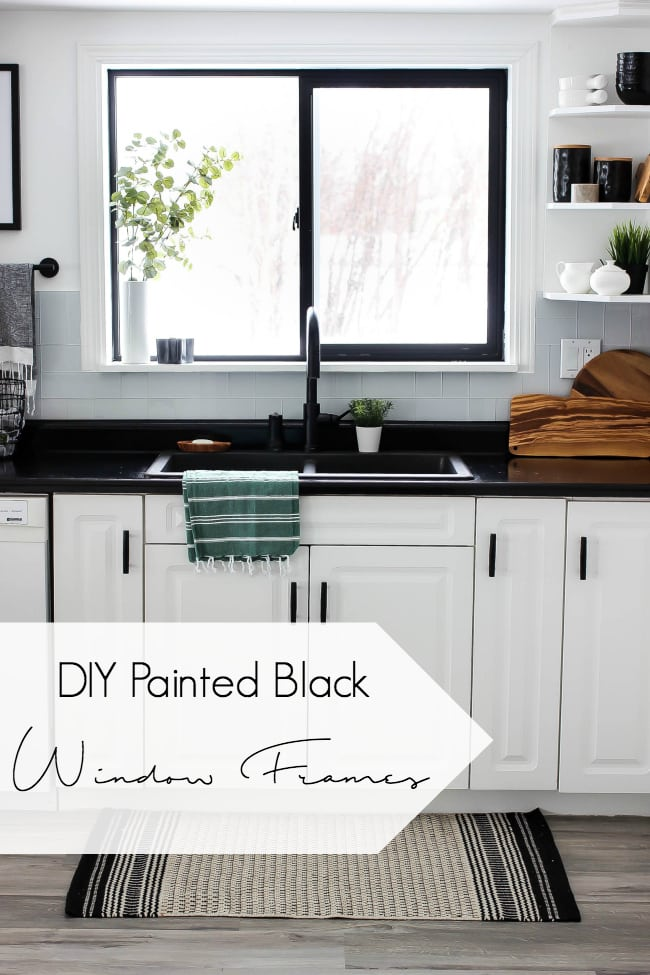 Love the look of black window frames! If you want to paint your own, here's one quick and easy DIY tutorial! Get the beautiful modern black windows for any interior room!