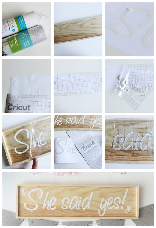 Make your own wood sign! Beautiful Bridal Shower Decorations for the Modern Bride! Decorate with the Iridescent Martha Stewart Celebration Line, and personalize your party with the Cricut Explore 2! You're bride will be thrilled with the subtle glitter and glam in these pink and silver decorations!