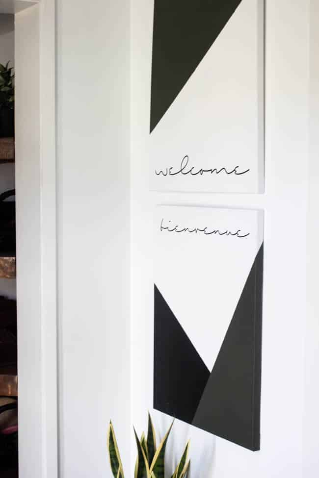 This modern style geometric artwork fits in perfectly with the design in our new entryway