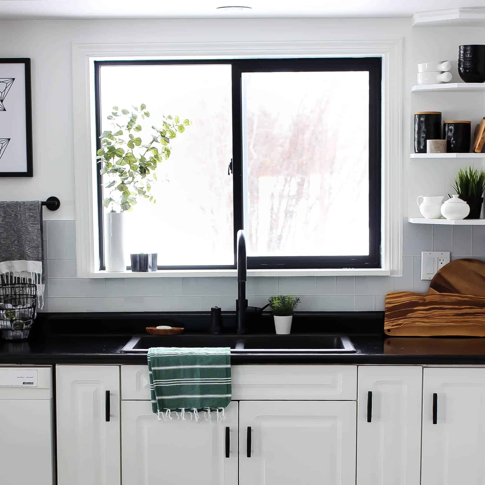 DIY Painted Black Window Frames