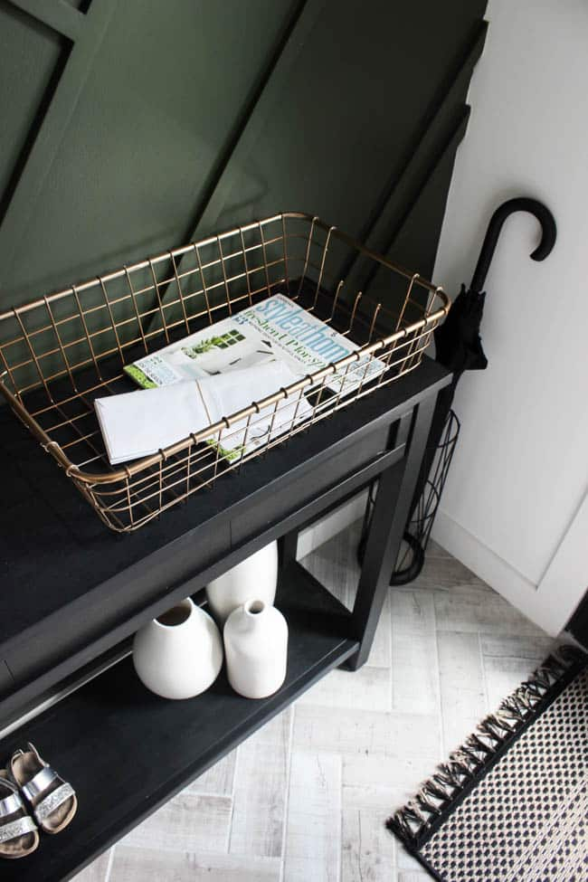 Love this wire basket, perfect place to store mail or magazines