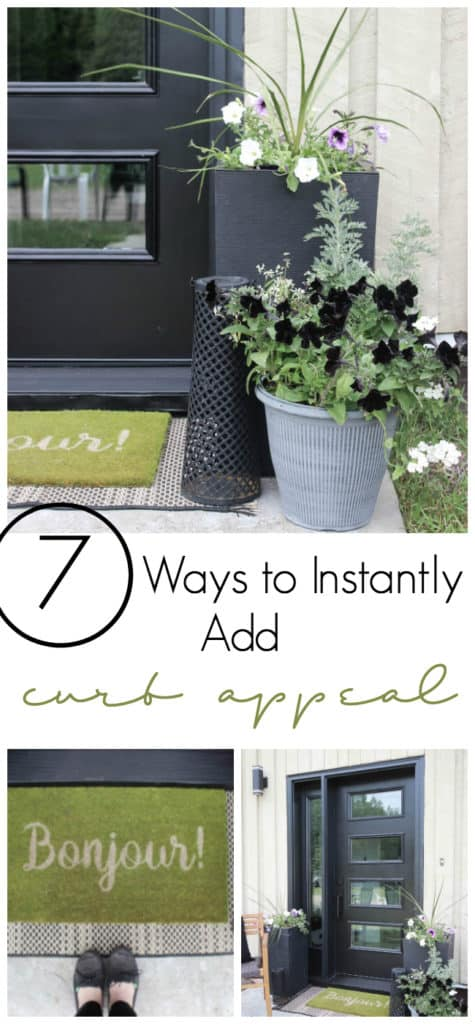 Quick and easy ways to add curb appeal to your front entry! Great budget-friendly tips for creating a front entry that is welcoming and beautiful. Transform your entry with a few of these simple ideas!
