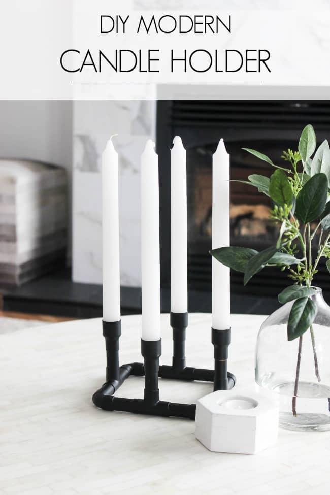 Wow! Making your own holders has never been so easy! Such a creative use of copper pipe and spray paint! Love this easy modern decor idea! These easy candlesticks would be beautiful as centrepieces or sitting on a shelf!