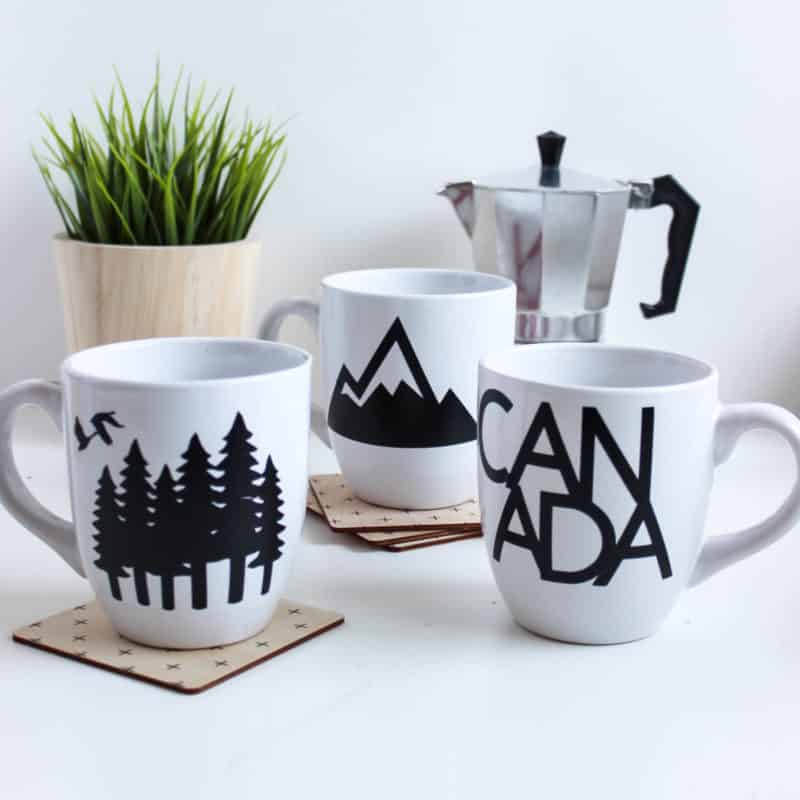 It's almost Canada Day! Celebrate by decorating your own Canadian mugs for the holiday! Cricut's removable vinyl lets you take off the design when the holiday is over too! Beautiful DIY modern decor!