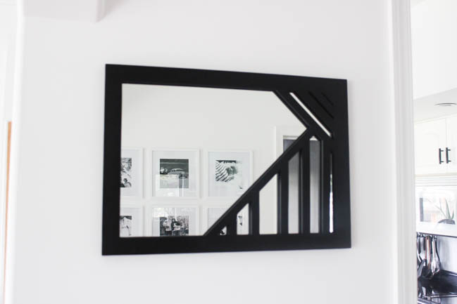 Beautiful DIY Mirror! Make your own modern mirror with this simple tutorial and a Ryobi pin nailer :) Love the geometric design! The perfect wooden mirror frame for any wall!