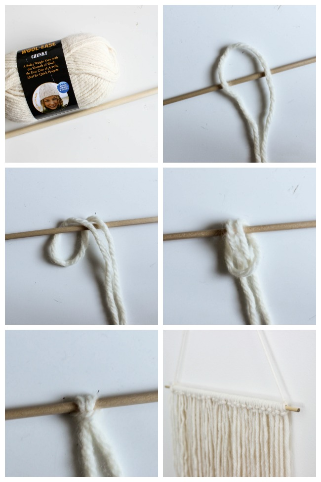 Make your own DIY wall hanging! The easiest way to add a little boho style to your home! All you need is yarn and spray paint! LOVE this simple tutorial!