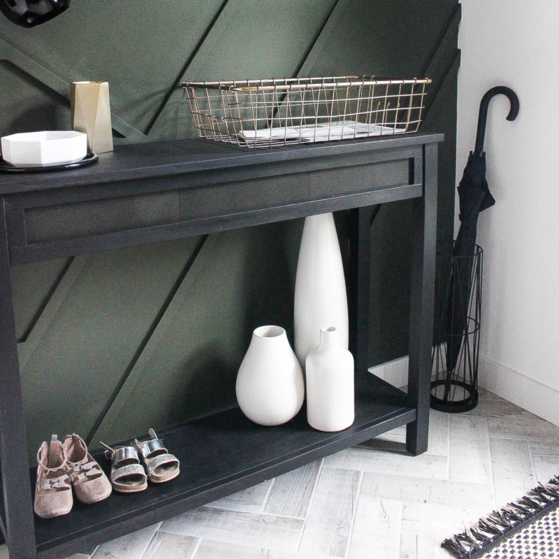 Beautiful Furniture Transformation! Use leftover tile to upcycle an old console table into a beautiful, modern piece in just a few steps. Beautiful narrow table for the entry or hallway. Such a wonderful use of leftover tile!