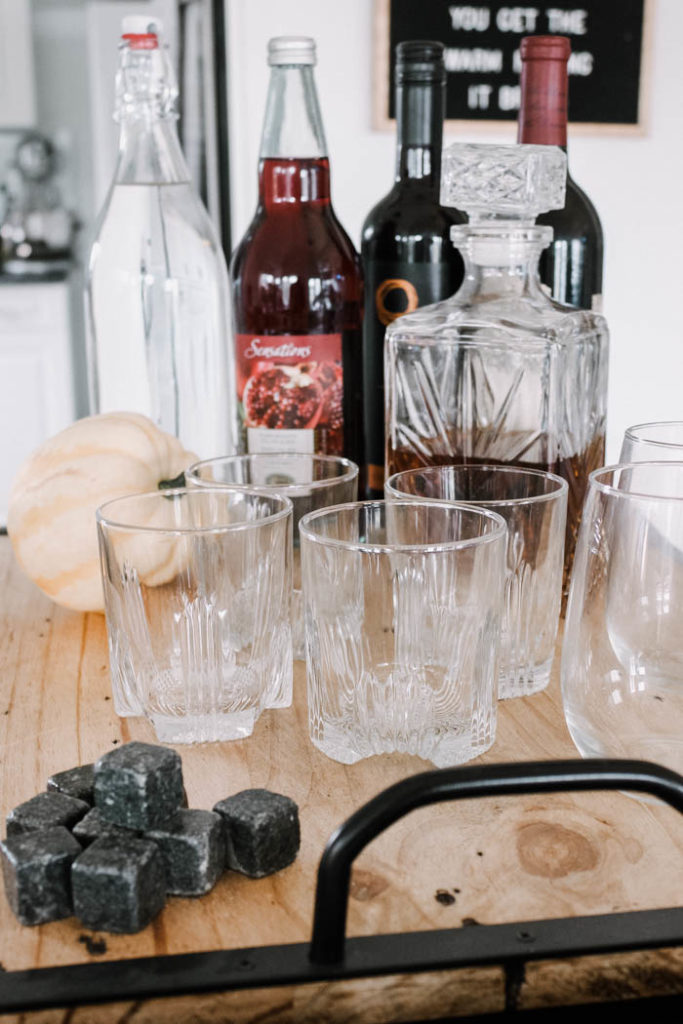 This drink bar is a perfect element of a fall party - simple with savory and warm flavors
