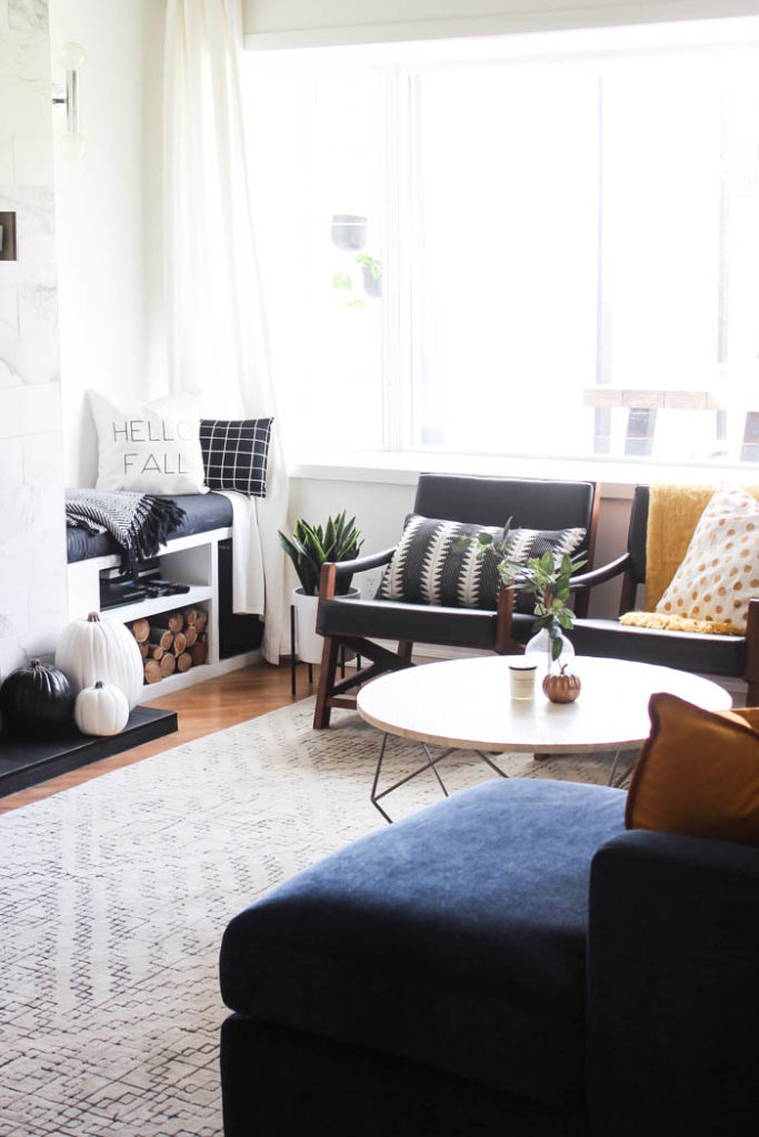 A Beautiful Cozy Fall Home Tour! Love The Pops Of Mustard Yellow In This  Monochromatic