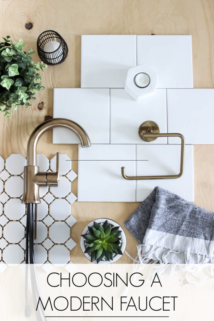 Ideas for choosing a modern faucet, tub filler, and shower head for your bathroom! Love the champagne bronze finish for this contemporary space! #bathroom #modernbathroom #homedesign #flaylay