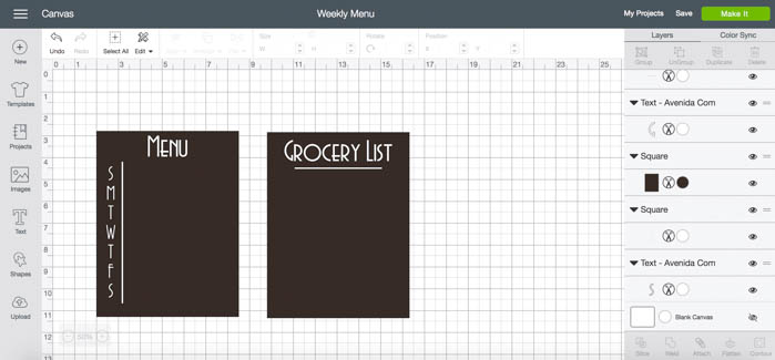 A simple, modern kitchen menu board. Love this meal planning idea! A simple way to create a weekly meal plan and grocery list. An easy vinyl project for Cricut beginners! #cricut #organization #mealplanning #kitchenorganization