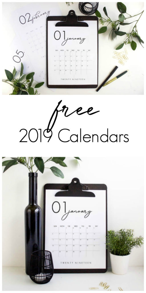 Grab your FREE 2019 Calendar Printable. LOVE the design of these beautiful, modern calendars! Grab yours and stay organized this year! #calendar #organization #2019 #monthlycalendar #free #freeprintable