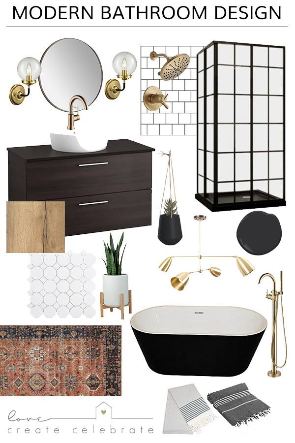 Beautiful Modern Bathroom Design plans! Love the black and white, and mixed metallics in this modern bathroom design. The glass shower and black freestanding tub against the gold faucets will look beautiful! #bathroom #bathroomdesign #moodboard #gold #vintage