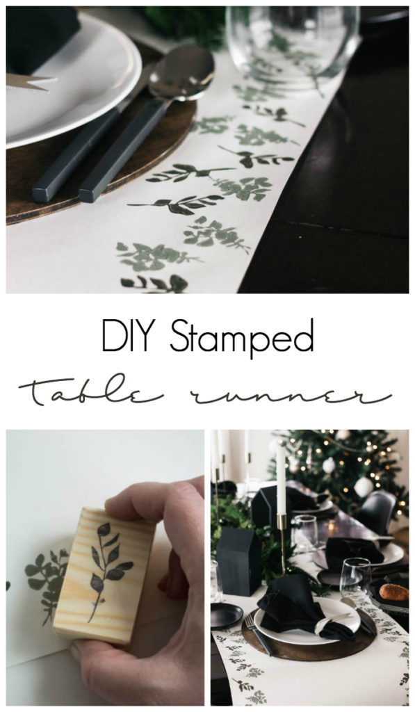 A beautiful eucalyptus stamped table runner for the holiday season! Love this budget-friendly DIY! All you need is green paint and paper to make this stunning modern Christmas tablescape! #tablescape #Christmas #darkandmoody #Holiday #blackandwhite #tablesetting
