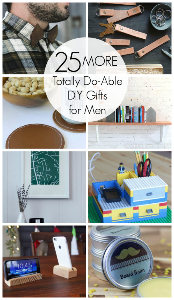 25 Amazing DIY Gifts for Men! These gift ideas will help you make something for any guy on your list - brother, boyfriend, husband, dad, grandfather, anyone! #gifts #present #DIY