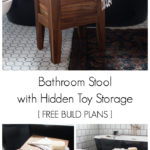 A stunning modern bathroom stool! Love the design of this teak bathroom stool. The removable lid reveals the hidden storage - a genius idea for storing your bathroom toys! The slats underneath allow the water to seep out naturally. A great bathroom idea with free build plans! #freebuildplans #modernbathroom #DIY #woodworking #teak