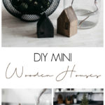 These DIY Mini Wooden Houses are adorable! Love the simple & modern design. The dark stains are beautiful. It's the perfect addition to any coffee table or shelf styling! A great scrap wood project! #scrapwood #winterdecor #holiday #minihouse #woodworking