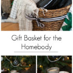 A great gift basket idea for the holiday homebody. Give them the gift of a night in with coffee, and cozy home decor! It would also be a great gift idea for couples! #Christmas #gifts #homebody