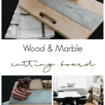 A beautiful DIY Cutting Board! Love this wood and marble cutting board. Such a simple idea and a great way to use leftover tile! #leftovertile #woodworking #DIY #kitchendecor #modernkitchen