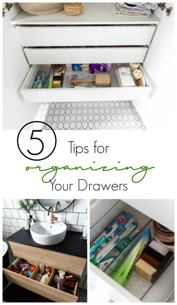 Beautifully organized bathroom! Love these 5 great tips for organizing your drawers. So many practical and functional ideas for how to organize with just a few items. Beautiful stylish organization! #organization #bathroomorganization #modernbathroom #homeorganization