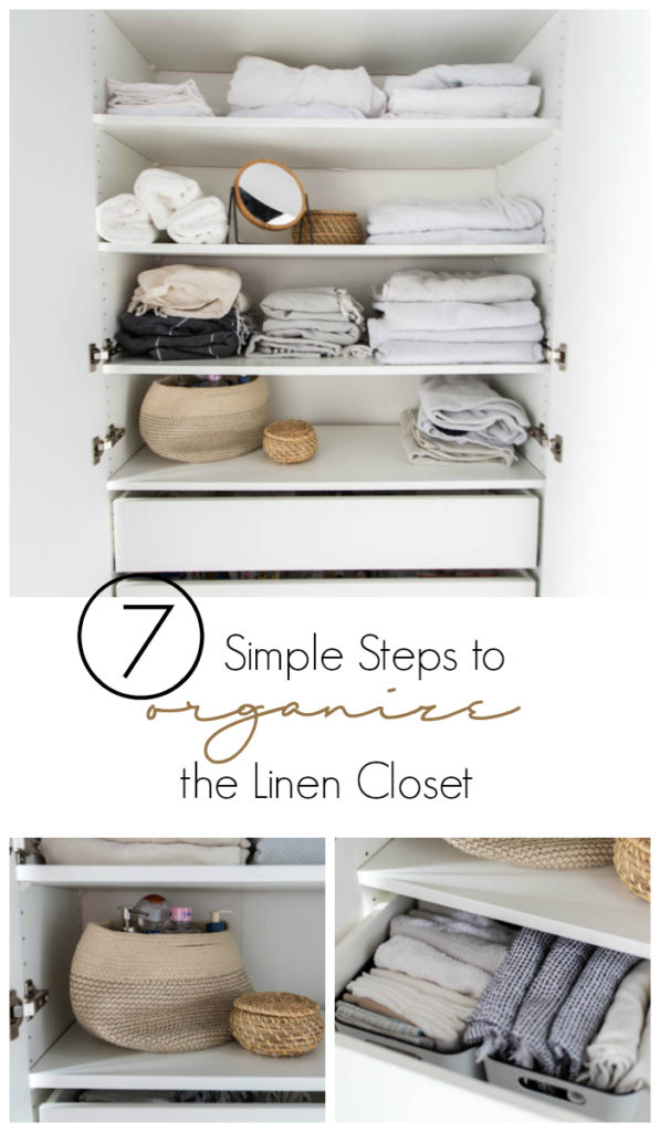 A beautifully organized linen closet in 7 quick steps! Looking to add some organization to your linen closet? These easy tips and tricks will help your linen cabinet stay organized. #organization #konmari #linencloset