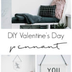 Learn how to use Cricut Iron On Vinyl with these simple Valentine's Day project! This simple tutorial will teach you everything you need to know about working with HTV or iron-on vinyl. You will love this DIY Modern Valentine's Day decor pennant. #valentinesday #moderndecor #HTV #Cricutmade #Cricut