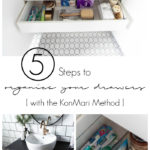 Beautifully organized konmari bathroom drawers! Love these 5 great tips for organizing your drawers. So many practical and functional ideas for how to organize with just a few items. Beautiful stylish organization! #organization #bathroomorganization #modernbathroom #homeorganization