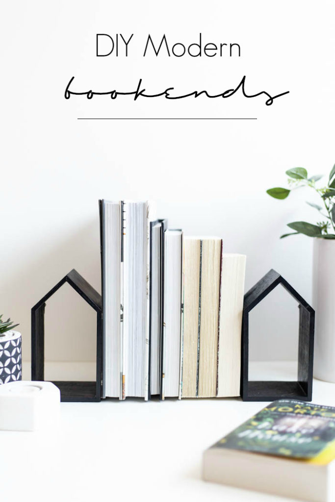 DIY modern house-shaped bookends