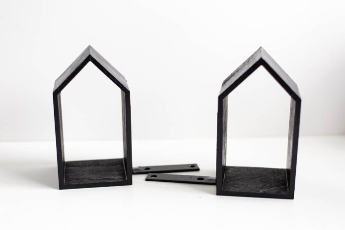 wooden house bookends
