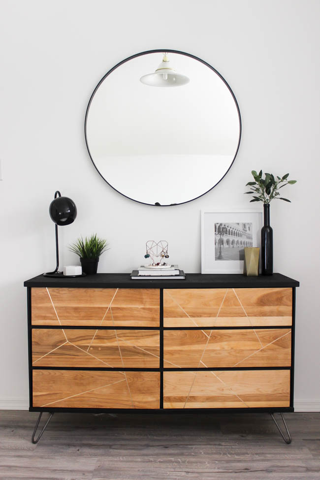Chic dresser makeover with black paint and wood feature
