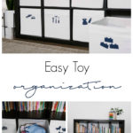 "Organize Toy Storage photos with text overlay reading ""Easy Toy Organization"""