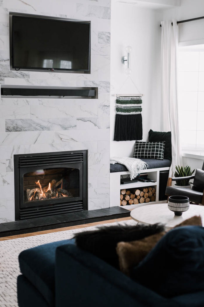 gorgeous modern fireplace surround in living room