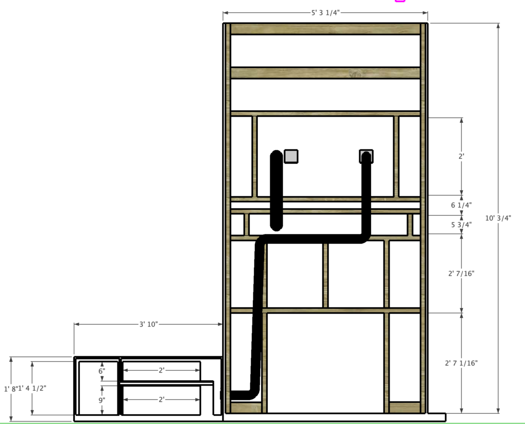 back of fireplace surround framing