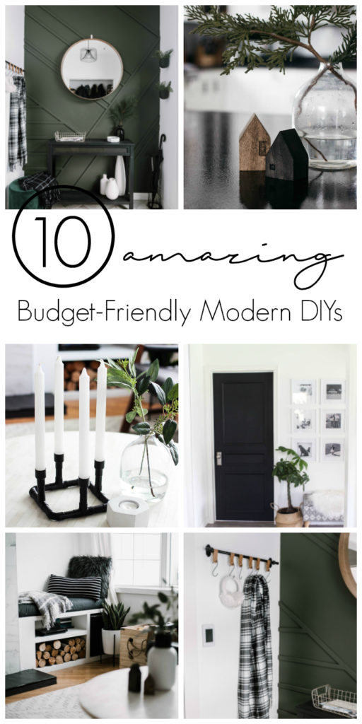"Photos of beautiful modern rooms with text overlay reading ""10 Amazing Budget-Friendly Modern DIYs"""