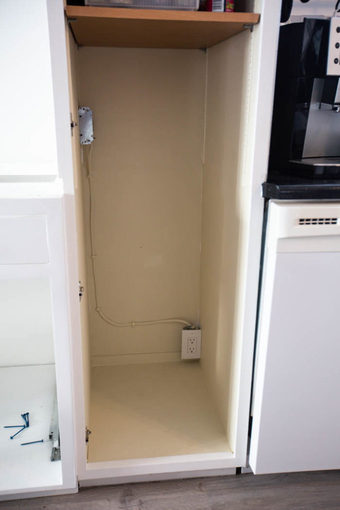 Electrical boxes inside cabinet