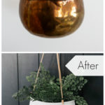 "before and after images of a hanging planter with text overlay reading ""before"" and ""after"""