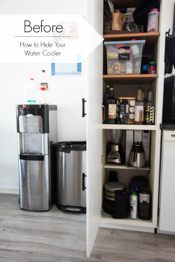 "photo of messy trash can, recycling, and water cooler with text overlay reading ""before how to hide your water cooler"""