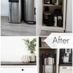 "collage of water cooler outside and inside cabinet with text overlay reading ""before"" and ""after"""