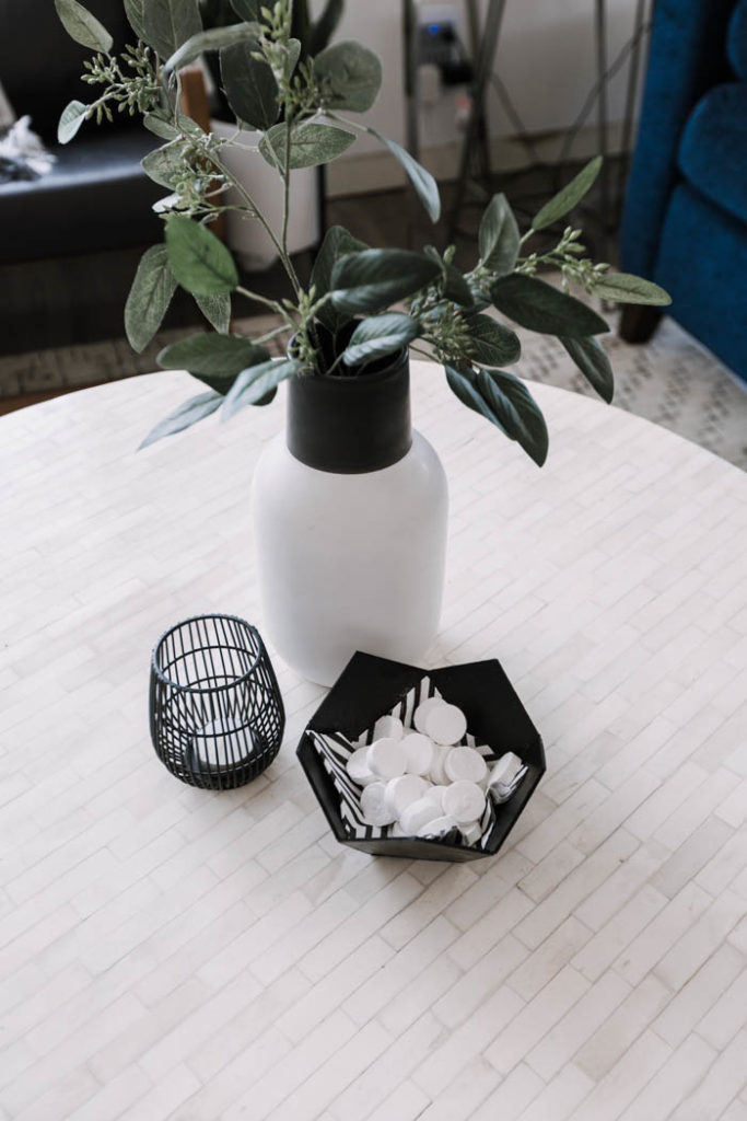 Modern coffee table vignette